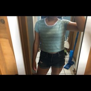 Charlotte Russe blue Crop Top size s